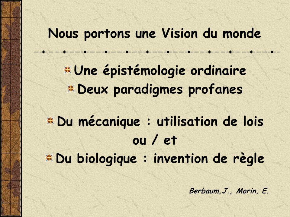 Nous portons une Vision du monde Une épistémologie ordinaire Deux paradigmes profanes Du mécanique : utilisation de lois ou / et Du biologique : inven