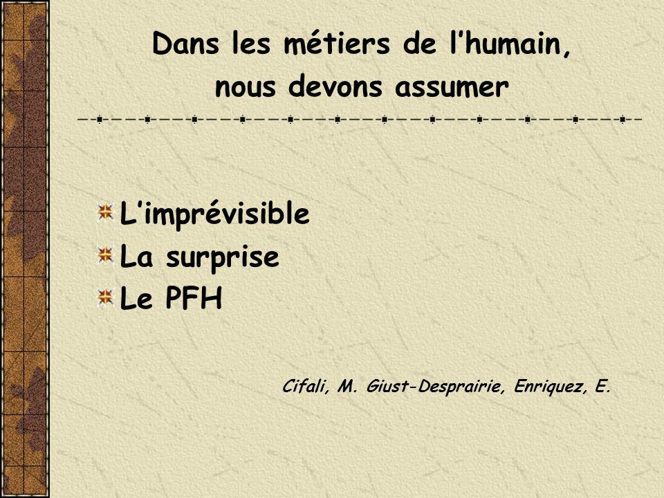 Dans les métiers de lhumain, nous devons assumer Limprévisible La surprise Le PFH Cifali, M. Giust-Desprairie, Enriquez, E.
