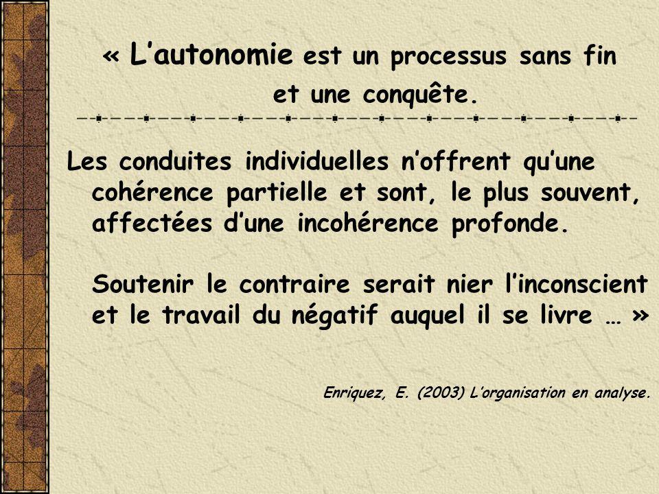 « Lautonomie est un processus sans fin et une conquête. Les conduites individuelles noffrent quune cohérence partielle et sont, le plus souvent, affec