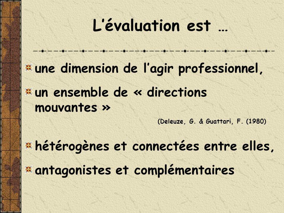 une dimension de lagir professionnel, un ensemble de « directions mouvantes » (Deleuze, G. & Guattari, F. (1980) hétérogènes et connectées entre elles