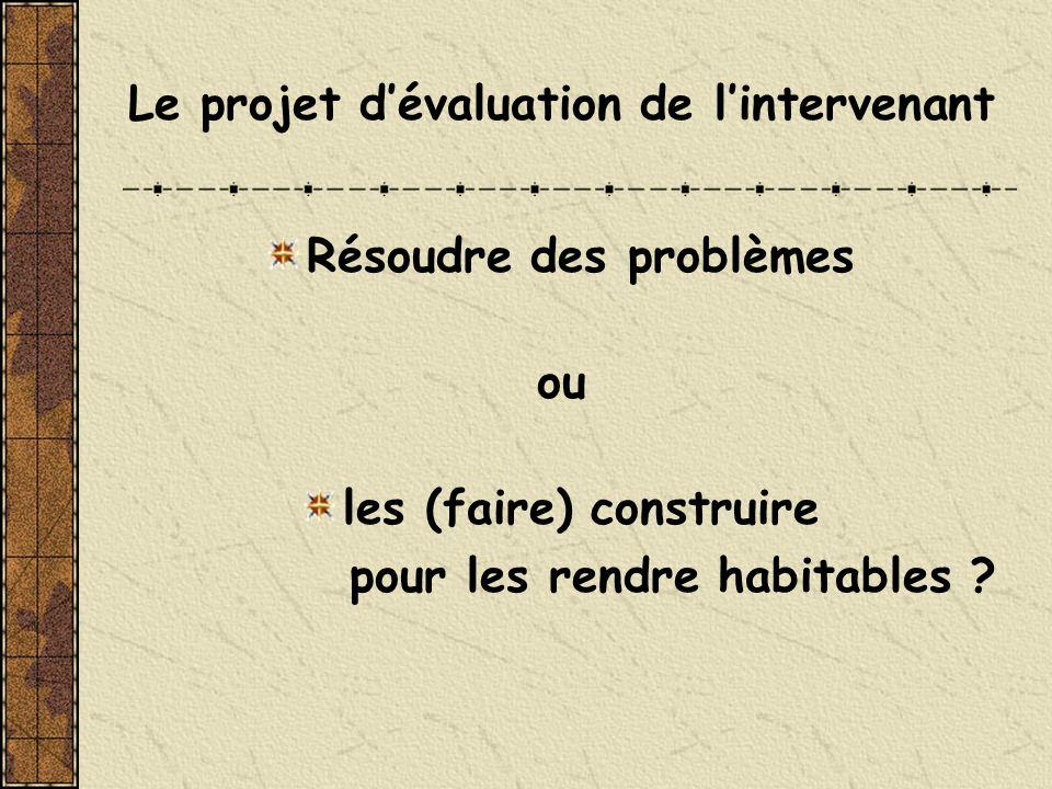 Le projet dévaluation de lintervenant Résoudre des problèmes ou les (faire) construire pour les rendre habitables ?