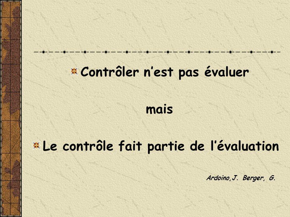 Contrôler nest pas évaluer mais Le contrôle fait partie de lévaluation Ardoino,J. Berger, G.