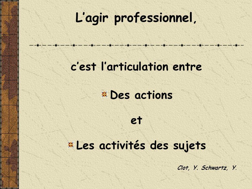 Lagir professionnel, cest larticulation entre Des actions et Les activités des sujets Clot, Y. Schwartz, Y.