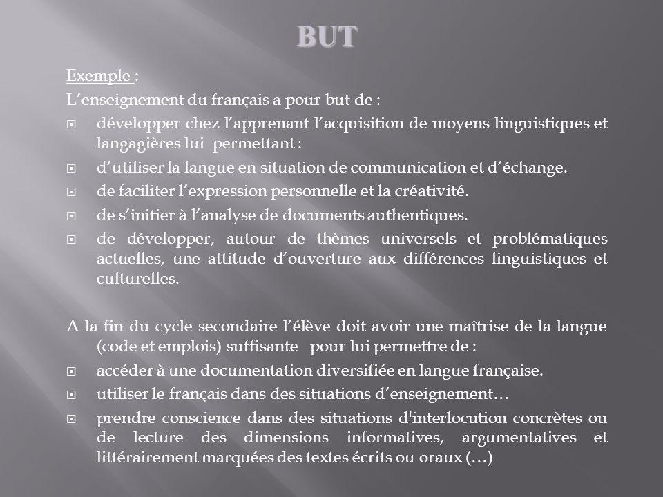 Exemple : Lenseignement du français a pour but de : développer chez lapprenant lacquisition de moyens linguistiques et langagières lui permettant : du
