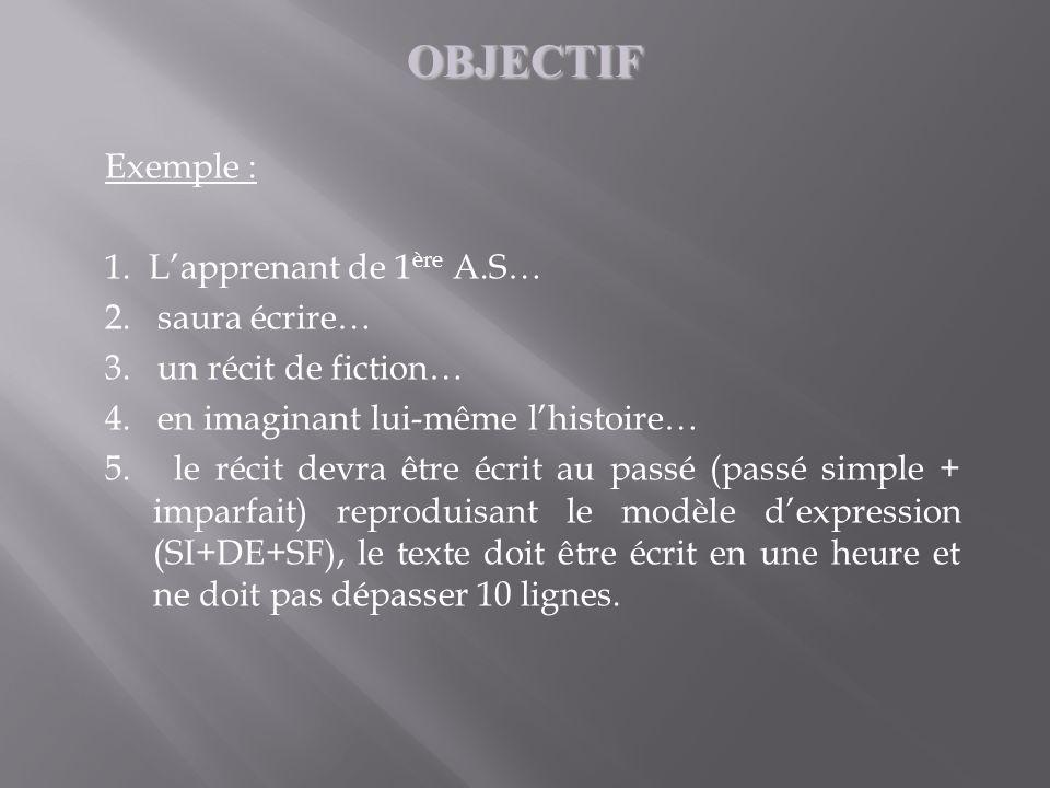 Exemple : 1. Lapprenant de 1 ère A.S… 2. saura écrire… 3. un récit de fiction… 4. en imaginant lui-même lhistoire… 5. le récit devra être écrit au pas
