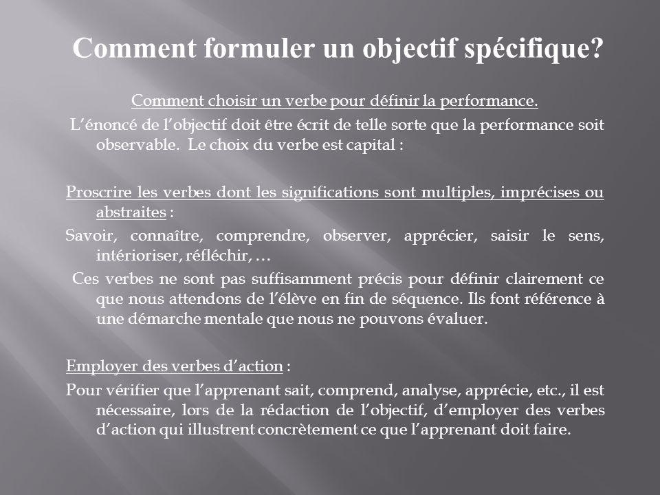 Comment choisir un verbe pour définir la performance. Lénoncé de lobjectif doit être écrit de telle sorte que la performance soit observable. Le choix