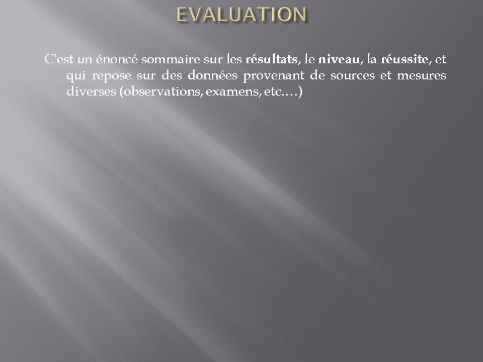 C'est un énoncé sommaire sur les résultats, le niveau, la réussite, et qui repose sur des données provenant de sources et mesures diverses (observatio