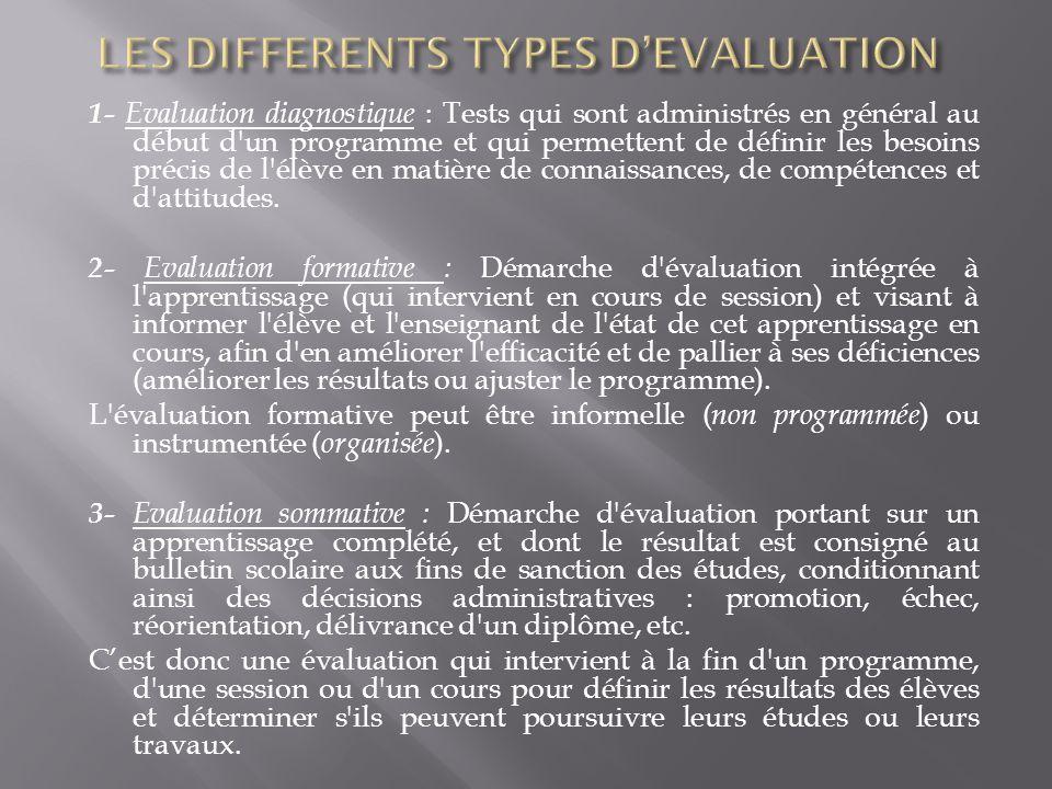 1- Evaluation diagnostique : Tests qui sont administrés en général au début d'un programme et qui permettent de définir les besoins précis de l'élève