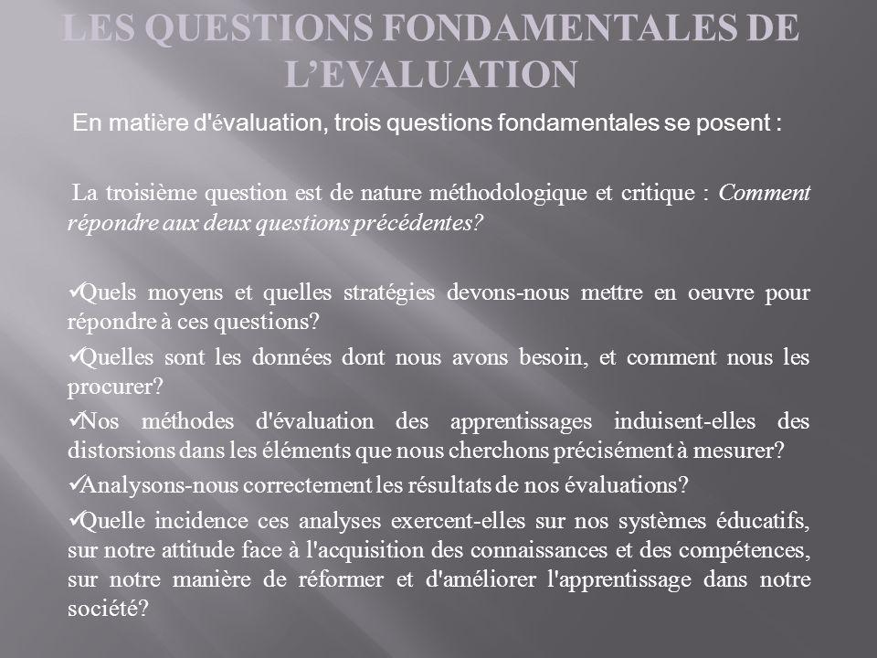 En mati è re d' é valuation, trois questions fondamentales se posent : La troisième question est de nature méthodologique et critique : Comment répond