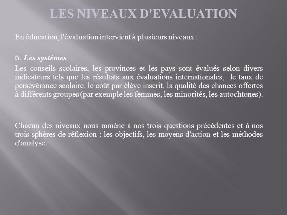 LES NIVEAUX D'EVALUATION En éducation, l'évaluation intervient à plusieurs niveaux : 5. Les systèmes. Les conseils scolaires, les provinces et les pay