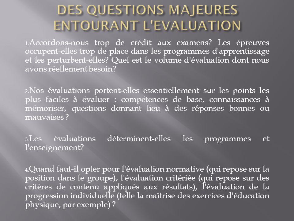 1. Accordons-nous trop de crédit aux examens? Les épreuves occupent-elles trop de place dans les programmes d'apprentissage et les perturbent-elles? Q