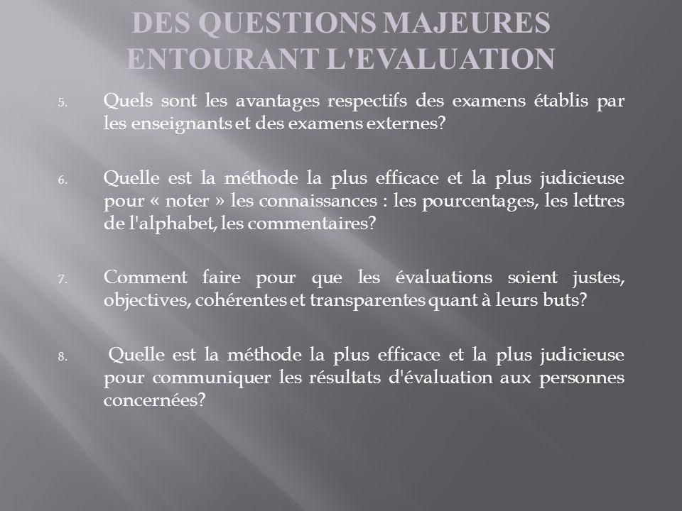DES QUESTIONS MAJEURES ENTOURANT L'EVALUATION 5. Quels sont les avantages respectifs des examens établis par les enseignants et des examens externes?