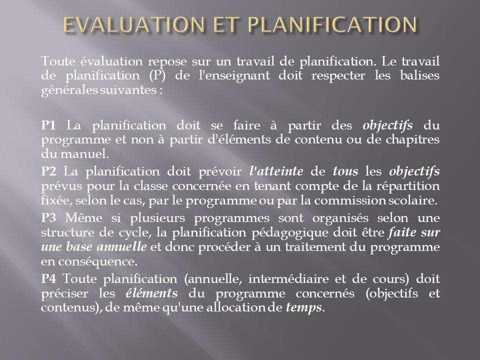 Toute évaluation repose sur un travail de planification. Le travail de planification (P) de l'enseignant doit respecter les balises générales suivante
