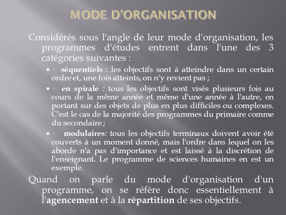 Considérés sous l'angle de leur mode d'organisation, les programmes d'études entrent dans l'une des 3 catégories suivantes : · séquentiels : les objec