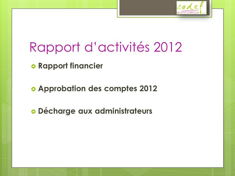 Rapport dactivités 2012 Rapport financier Approbation des comptes 2012 Décharge aux administrateurs