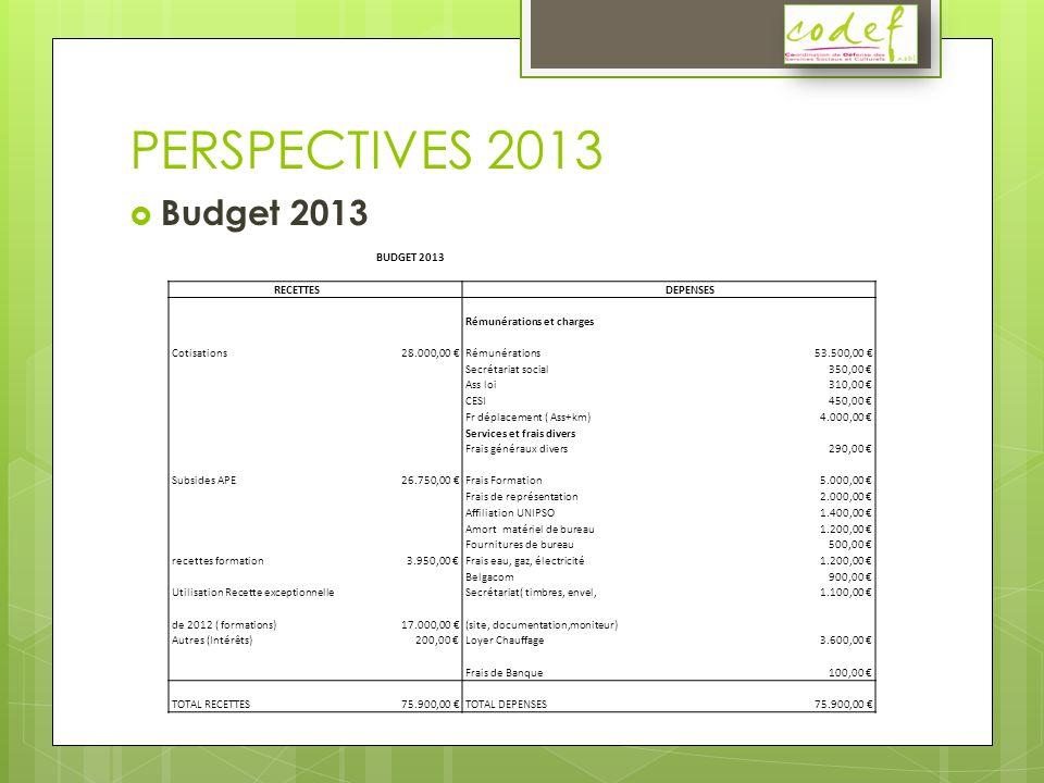PERSPECTIVES 2013 Budget 2013 BUDGET 2013 RECETTES DEPENSES Rémunérations et charges Cotisations28.000,00 Rémunérations53.500,00 Secrétariat social350