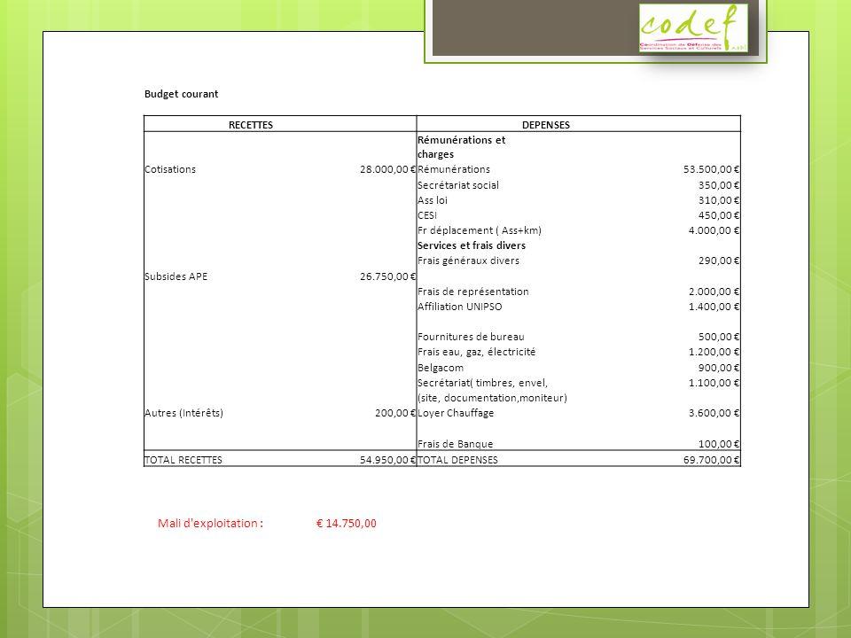 Budget courant RECETTES DEPENSES Rémunérations et charges Cotisations28.000,00 Rémunérations53.500,00 Secrétariat social350,00 Ass loi310,00 CESI450,00 Fr déplacement ( Ass+km)4.000,00 Services et frais divers Frais généraux divers290,00 Subsides APE26.750,00 Frais de représentation2.000,00 Affiliation UNIPSO1.400,00 Fournitures de bureau500,00 Frais eau, gaz, électricité1.200,00 Belgacom900,00 Secrétariat( timbres, envel,1.100,00 (site, documentation,moniteur) Autres (Intérêts)200,00 Loyer Chauffage3.600,00 Frais de Banque100,00 TOTAL RECETTES54.950,00 TOTAL DEPENSES69.700,00 Mali d exploitation : 14.750,00
