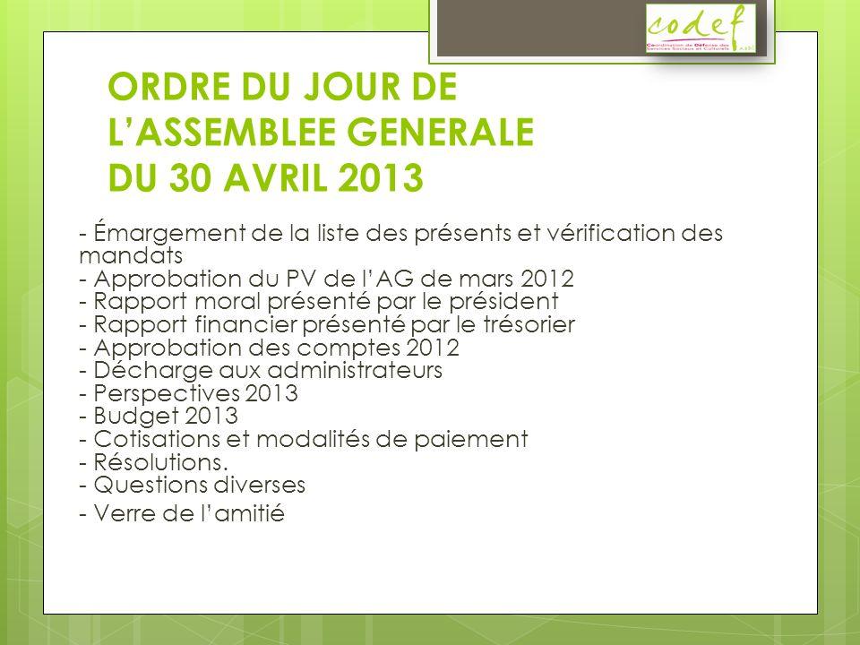 Approbation du PV de lAG de mars 2012 PROCES-VERBAL de l Assemblée Générale ordinaire du 05/03/2012