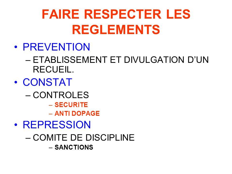 FAIRE RESPECTER LES REGLEMENTS PREVENTION –ETABLISSEMENT ET DIVULGATION DUN RECUEIL.
