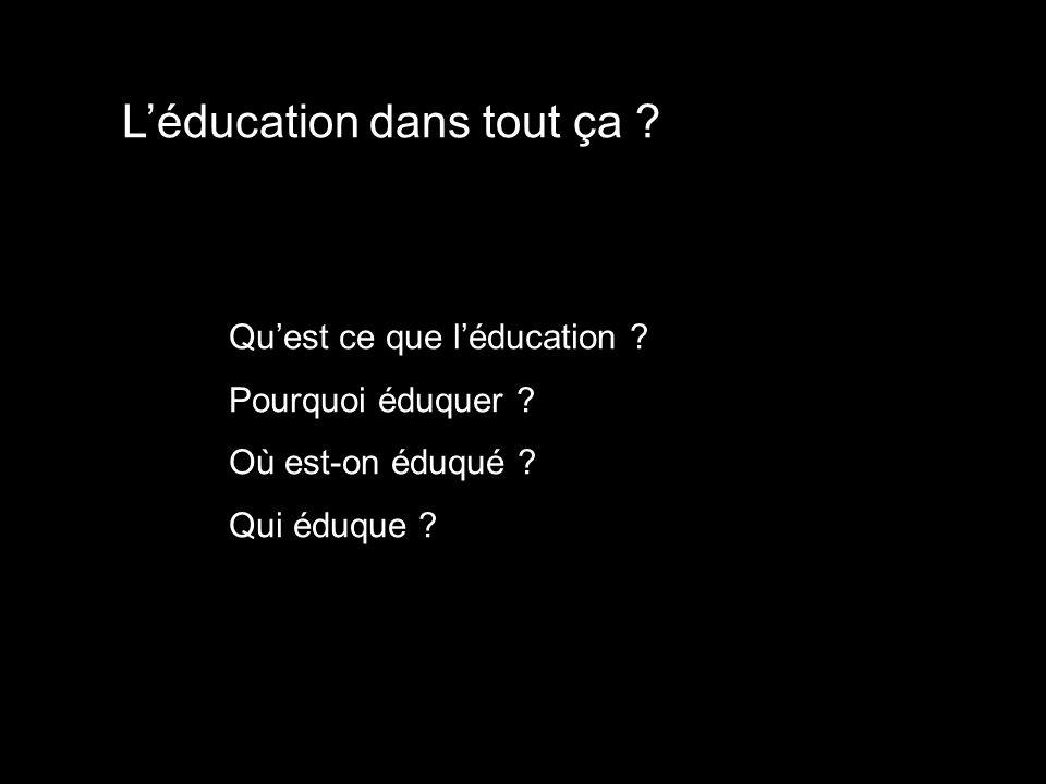 Léducation dans tout ça ? Quest ce que léducation ? Pourquoi éduquer ? Où est-on éduqué ? Qui éduque ?