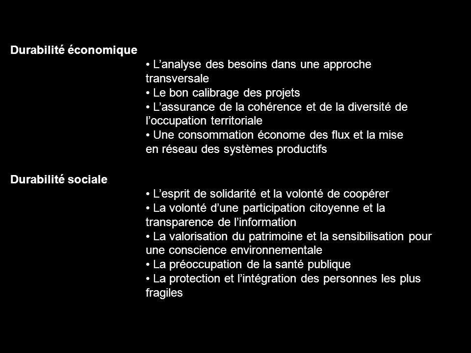 Durabilité économique Lanalyse des besoins dans une approche transversale Le bon calibrage des projets Lassurance de la cohérence et de la diversité d