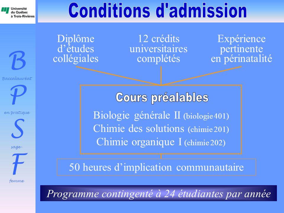 B Baccalauréat P en pratique S sage- F femme Biologie générale II (biologie 401) Chimie des solutions (chimie 201) Chimie organique I (chimie 202) Dip