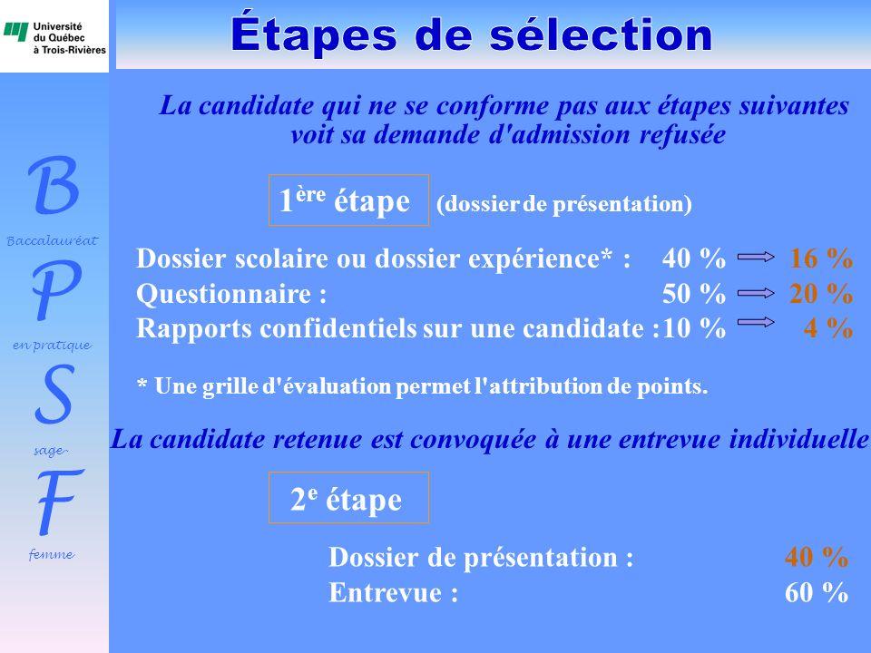 B Baccalauréat P en pratique S sage- F femme 1 ère étape (dossier de présentation) Dossier scolaire ou dossier expérience* :40 % 16 % Questionnaire :5