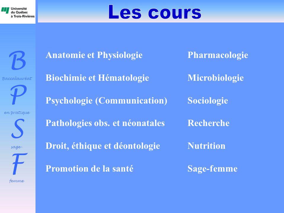 B Baccalauréat P en pratique S sage- F femme Anatomie et PhysiologiePharmacologie Biochimie et Hématologie Microbiologie Psychologie (Communication) S