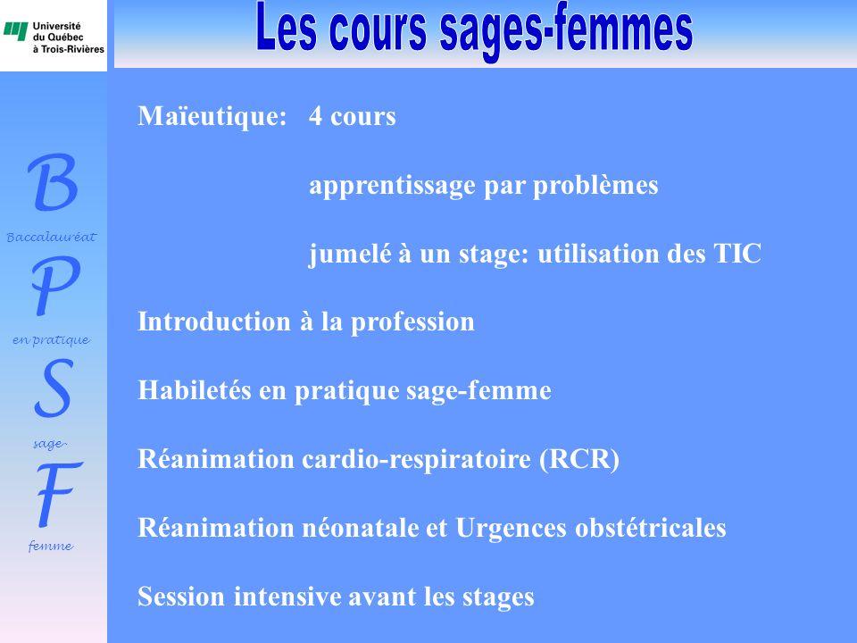 B Baccalauréat P en pratique S sage- F femme Maïeutique: 4 cours apprentissage par problèmes jumelé à un stage: utilisation des TIC Introduction à la