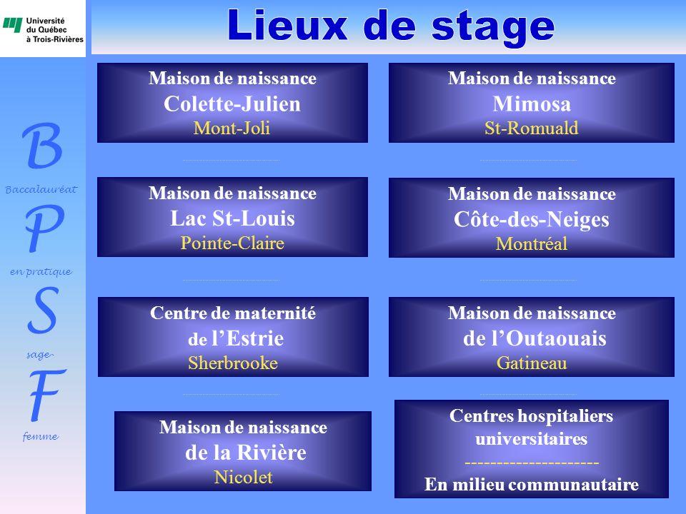 B Baccalauréat P en pratique S sage- F femme Maison de naissance Colette-Julien Mont-Joli Maison de naissance Côte-des-Neiges Montréal Centre de mater