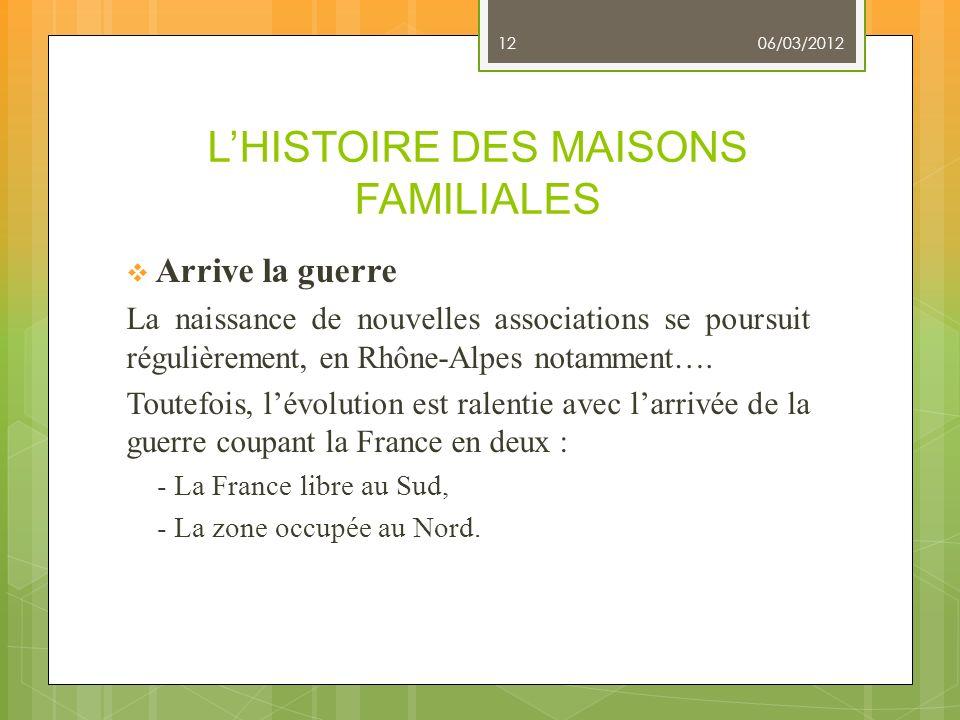 LHISTOIRE DES MAISONS FAMILIALES Arrive la guerre La naissance de nouvelles associations se poursuit régulièrement, en Rhône-Alpes notamment…. Toutefo