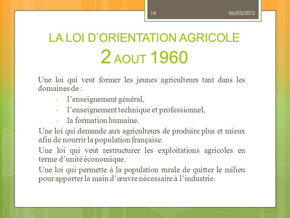 LA LOI DORIENTATION AGRICOLE 2 AOUT 1960 Une loi qui veut former les jeunes agriculteurs tant dans les domaines de : - lenseignement général, - lensei