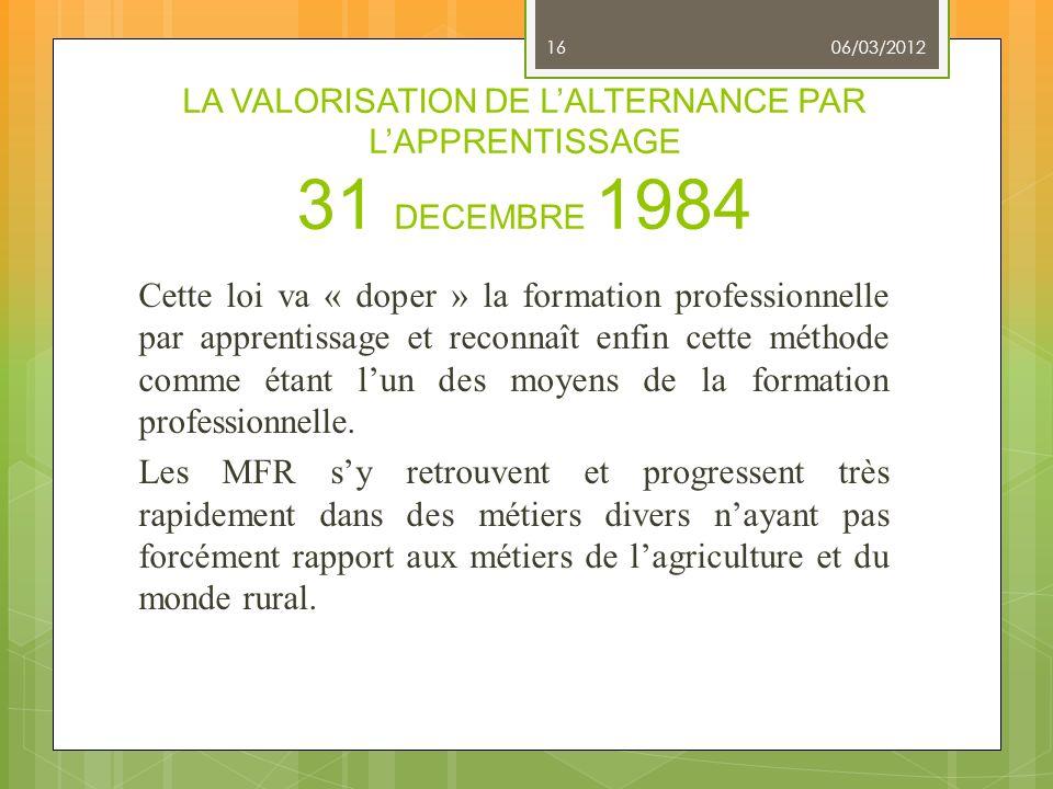 LA VALORISATION DE LALTERNANCE PAR LAPPRENTISSAGE 31 DECEMBRE 1984 Cette loi va « doper » la formation professionnelle par apprentissage et reconnaît