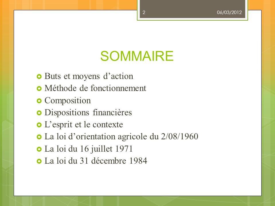 SOMMAIRE Buts et moyens daction Méthode de fonctionnement Composition Dispositions financières Lesprit et le contexte La loi dorientation agricole du