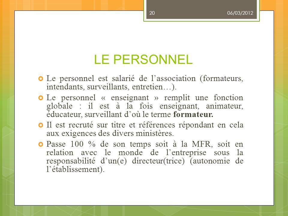 LE PERSONNEL Le personnel est salarié de lassociation (formateurs, intendants, surveillants, entretien…). Le personnel « enseignant » remplit une fonc