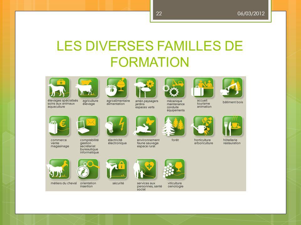 LES DIVERSES FAMILLES DE FORMATION 06/03/2012 22
