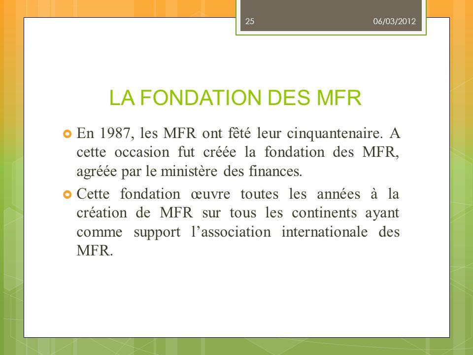 LA FONDATION DES MFR En 1987, les MFR ont fêté leur cinquantenaire. A cette occasion fut créée la fondation des MFR, agréée par le ministère des finan