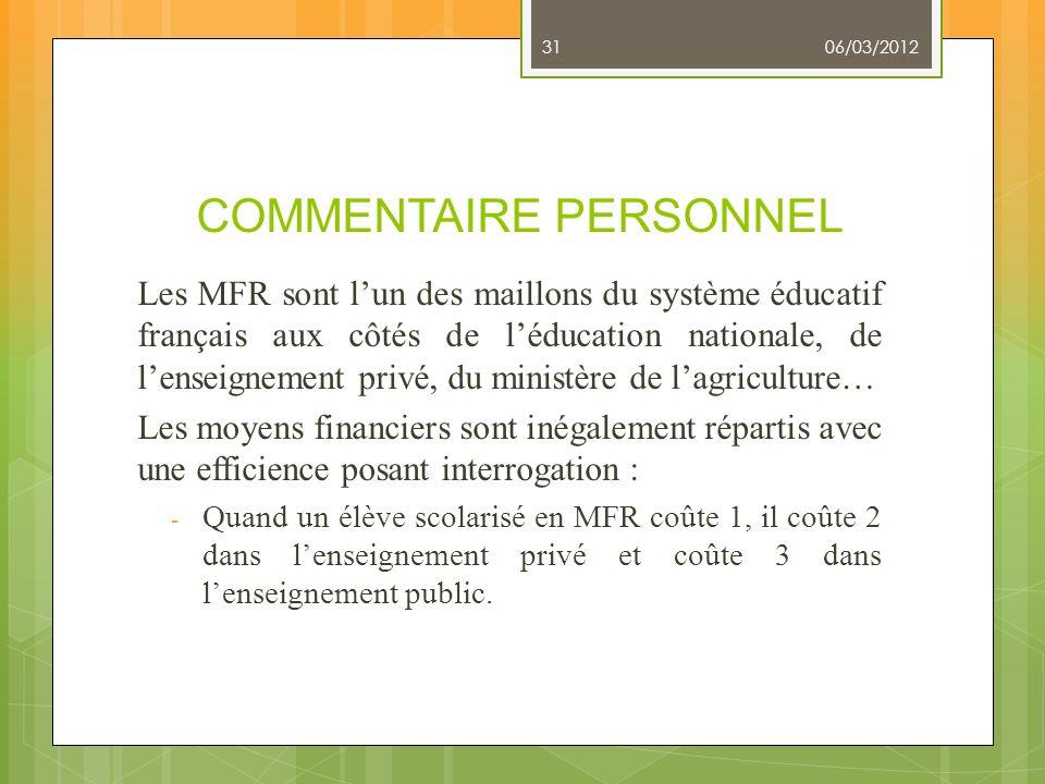 COMMENTAIRE PERSONNEL Les MFR sont lun des maillons du système éducatif français aux côtés de léducation nationale, de lenseignement privé, du ministè