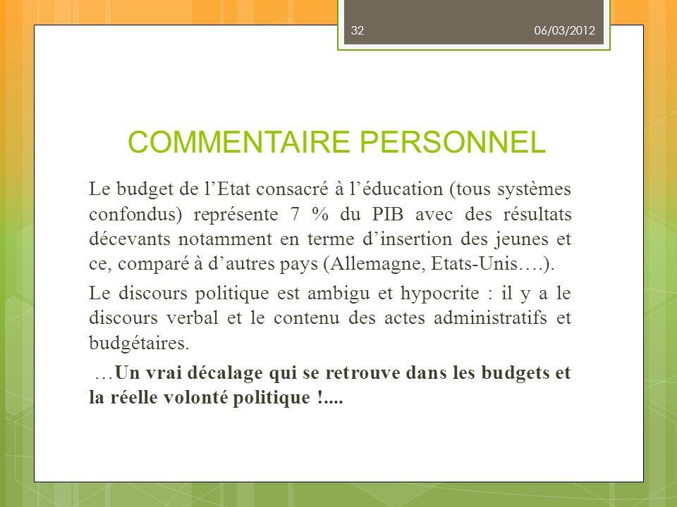 COMMENTAIRE PERSONNEL Le budget de lEtat consacré à léducation (tous systèmes confondus) représente 7 % du PIB avec des résultats décevants notamment