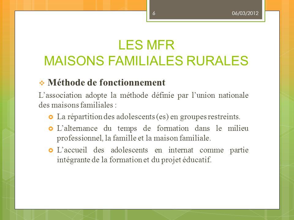 LES MFR MAISONS FAMILIALES RURALES Méthode de fonctionnement Lassociation adopte la méthode définie par lunion nationale des maisons familiales : La r