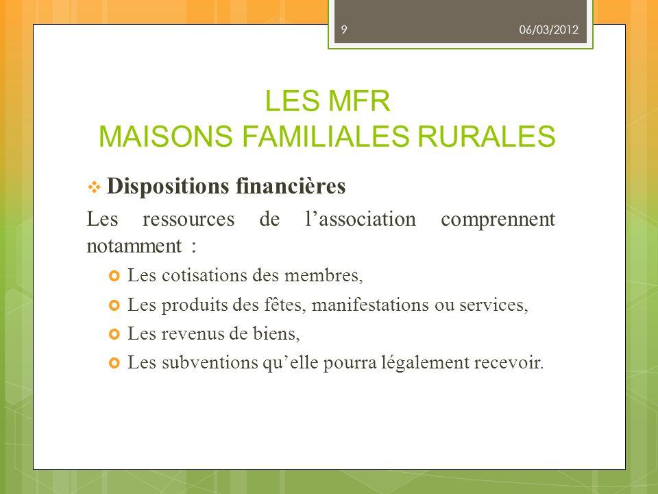 LES MFR MAISONS FAMILIALES RURALES Dispositions financières Les ressources de lassociation comprennent notamment : Les cotisations des membres, Les pr
