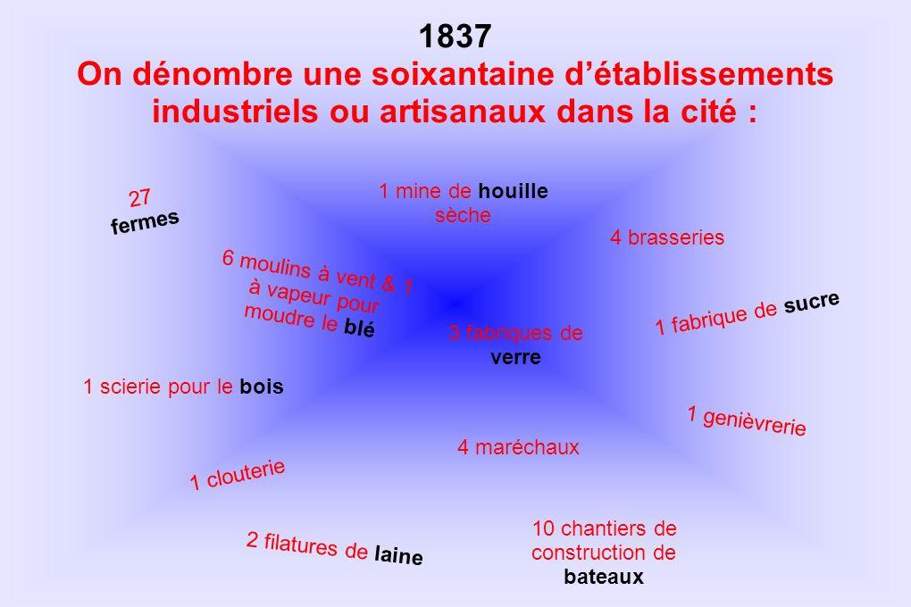 1837 On dénombre une soixantaine détablissements industriels ou artisanaux dans la cité : 1 mine de houille sèche 3 fabriques de verre 6 moulins à ven