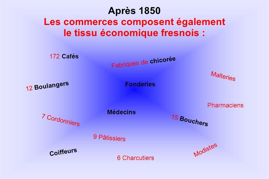 172 Cafés 9 Pâtissiers 7 Cordonniers 12 Boulangers 15 Bouchers 6 Charcutiers Après 1850 Les commerces composent également le tissu économique fresnois