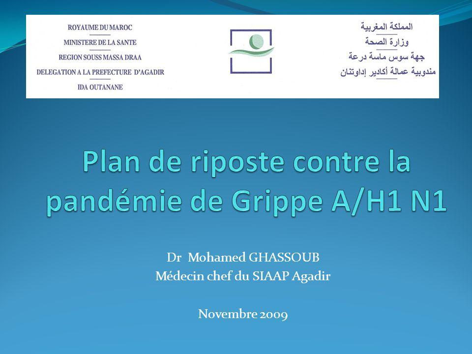 PLAN SANTE DE RIPOSTE A LA GRIPPE PANDEMIQUE A(H1N1) 2009 PLAN SANTE DE RIPOSTE A LA GRIPPE PANDEMIQUE A(H1N1) 2009 SIAAP d Agadir2 25 AOUT 2009