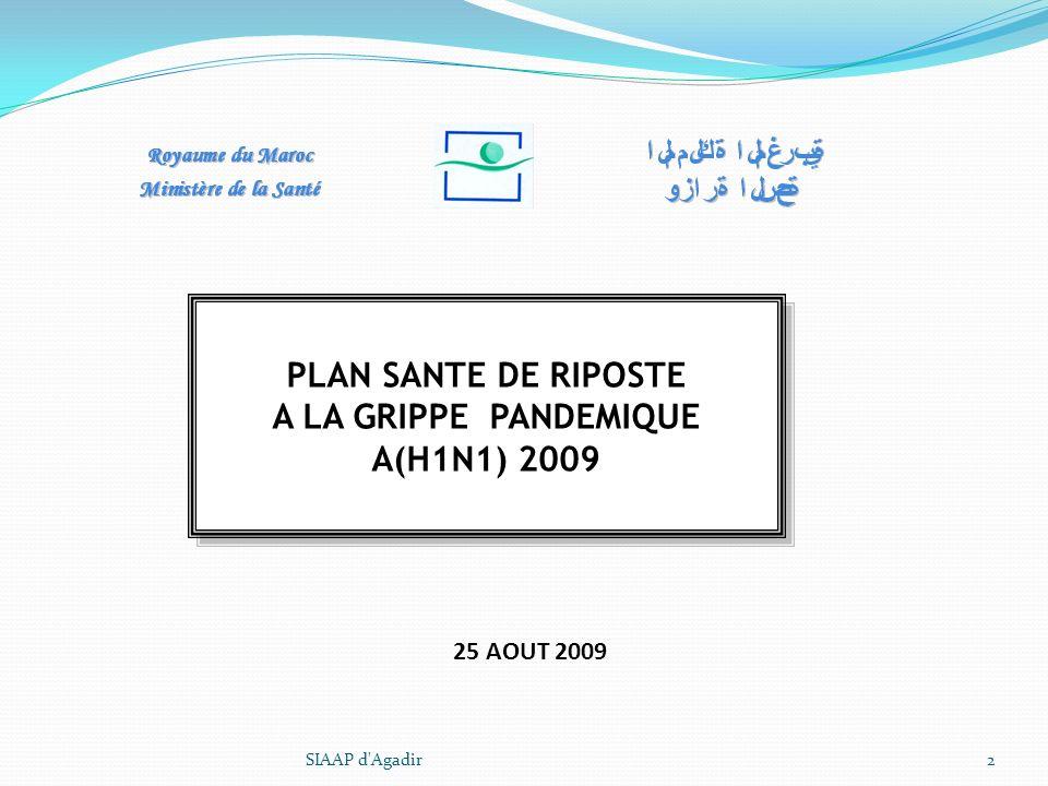 PLAN SANTE DE RIPOSTE A LA GRIPPE PANDEMIQUE A(H1N1) 2009 PLAN SANTE DE RIPOSTE A LA GRIPPE PANDEMIQUE A(H1N1) 2009 SIAAP d'Agadir2 25 AOUT 2009