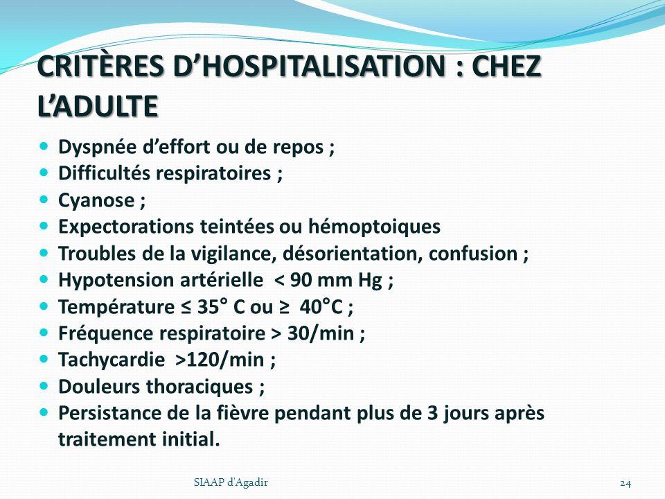 CRITÈRES DHOSPITALISATION : CHEZ LADULTE Dyspnée deffort ou de repos ; Difficultés respiratoires ; Cyanose ; Expectorations teintées ou hémoptoiques T