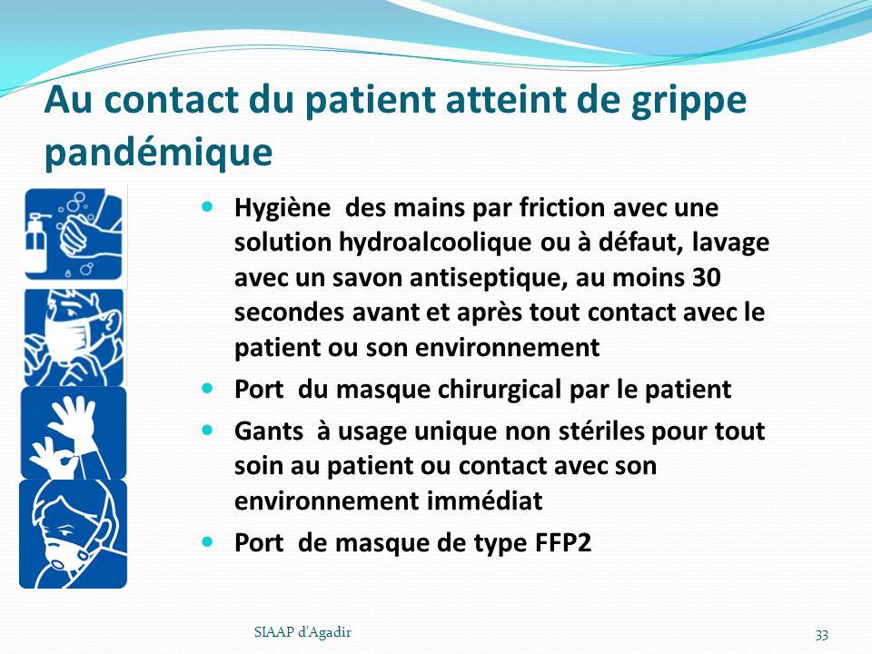Au contact du patient atteint de grippe pandémique Hygiène des mains par friction avec une solution hydroalcoolique ou à défaut, lavage avec un savon
