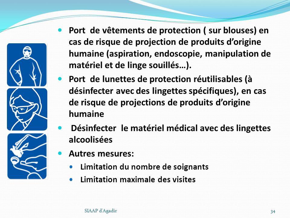 Port de vêtements de protection ( sur blouses) en cas de risque de projection de produits dorigine humaine (aspiration, endoscopie, manipulation de ma