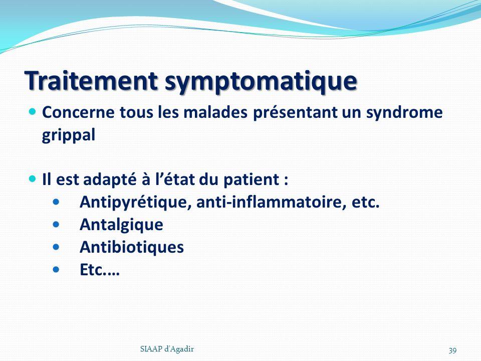 Traitement symptomatique Concerne tous les malades présentant un syndrome grippal Il est adapté à létat du patient : Antipyrétique, anti-inflammatoire