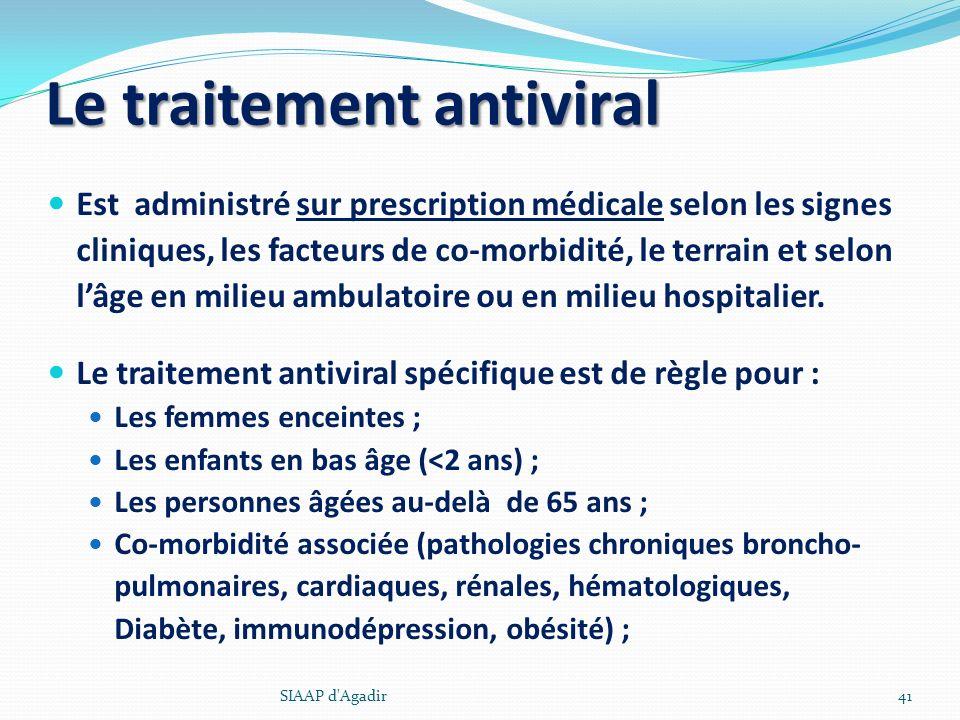 Est administré sur prescription médicale selon les signes cliniques, les facteurs de co-morbidité, le terrain et selon lâge en milieu ambulatoire ou e
